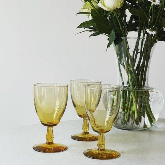 Vintage Amber Glass Stemmed Goblet Set
